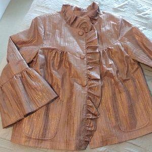 Grace Chuang Gold Metallic Ruffled Lined Jacket M